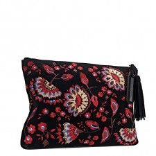 LOEFFLER RANDALL TASSEL POUCH Clutch in black floral embroidered suede
