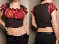 Steampunk cropped underbust vest