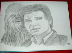 STAR WARS/HAN SOLO/PENCIL DRAWING SIGNED BY ARTIST   BW  9X12 IN ACRYLIC #Realism