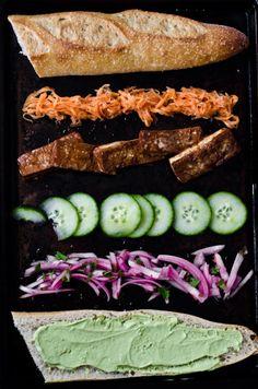 Sweet Soy-Glazed Tofu and Pickled Vegetable Banh Mi with Cilantro Sriracha Mayo recipe (#vegan #vegetarian)