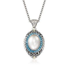 """This iconic Balinese pendant necklace brings an exotic flair with oxidized sterling silver swirls and 18kt yellow gold accents. At the center, 1.20 ct. t.w. London blue topaz rounds highlight a 13-18mm oval cultured mabe pearl. Suspends from a box chain with a 2"""" extender and a lobster clasp. Blue topaz and white pearl pendant necklace. Free shipping & easy 30-day returns. Fabulous jewelry. Great prices. Since 1952."""