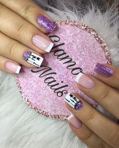 Fabulous Nails, Perfect Nails, Gorgeous Nails, Long Nail Designs, French Nail Designs, Gold Glitter Nails, Purple Nails, Cute Nails, Pretty Nails