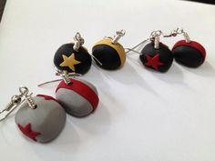 Roller Derby Earrings Team Colors Pivot or Jammer by DecorNoir, $8.50