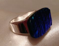Dichroic Blue Striated Size 8 Ring. SOLD