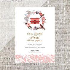 DIY Printable / Editable Chinese Wedding Invitation Card by ImLeaf Chinese Wedding Invitation Card, Wedding Invitation Card Template, Cheap Wedding Invitations, Invitation Card Design, Invites, Wedding Logos, Wedding Cards, Diy Wedding, Wedding Ideas