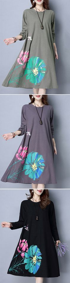 226d42c444e US  20.99 Loose Lotus Flower Printed Long Sleeve O Neck Dresses For Women  Vintage Dresses