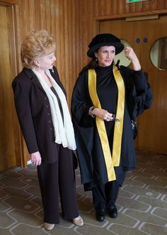 Carrie Fisher is joined by her mother Debbie Reynolds as she receives an Honorary Fellowship from The Central School of Speech and Drama at the Royal Festival Hall.