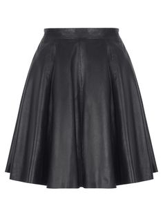 https://www.cityblis.com/5301/item/14611  Pipri Leather Skater Skirt in Black - $420 by Muubaa  This knee length skater skirt is made from ultra soft leather which creates a beautiful draping effect, enhanced when in movement. The Muubaa Pipri leather skirt features a concealed side zip fastening and has an asymmetric waistband, deepened at the back for a feminine detail and slimming effect.