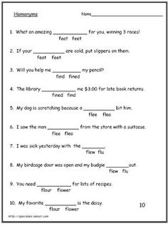 Students often struggle with homonyms and homophones, and that difficult is reflected in their writing. These worksheets focus on the correct meanings.: Worksheet #5