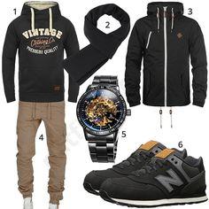 Street-Style für Herren mit schwarzem Blend Vintage Hoodie, Solid Übergangsjacke, Strickschal, Alienwork Automatikuhr, New Balance Sneakern und beiger Amaci&Sons Jogginghose.