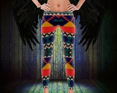 "These CindelRaven ""Avalon"" printed spandex leggings were inspired by the Aztec era matched with awesome modern colors! Cut and sewn right here in the USA.    Description:  • Design - ""Avalon""  • Color - blue/pink/yellow - multicolor  • Pattern - aztec  • Age Group - adult  • Gender - female/unisex  • Available Sizes - xs, s, m, l, xl  • Item Condition - new  • Materials - 82% polyester, 18% spandex  • Features - elastic waistband and four-way stretch  • Fabrics - imported and then…"