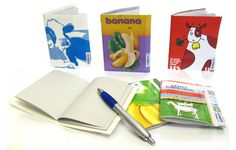 Notebooks and sketchbooks made from old milk cartons
