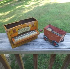 Two, 1930s or 1940s Vintage Tin Toys with Missing Parts, Crank Music Box Piano Made in Germany and Baby Carriage. Vintage Toy Decorating by VictorianWardrobe on Etsy