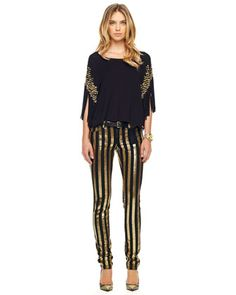 MICHAEL Michael Kors  Sequin-Stripe Skinny Jeans.