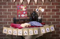Vintage Train Theme Birthday Party Baggage Car Banner. $5.99, via Etsy.