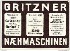 Original-Werbung/ Anzeige 1907 - GRITZNER NAEHMASCHINEN / DURLACH - Ca.  90 X 60 Mm - Werbung