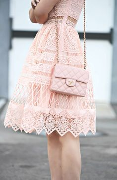 Lace on Lace, Ralph Lauren Jacket, Alexis Pink Lace Dress, Dior Shoes, Chanel Bag, via: HallieDaily
