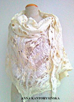 nuno felted shawl wrap ECRU handmade, free shipping, silk, wool, silk fibers, 100% natural, eco fashion by Kantorysinska