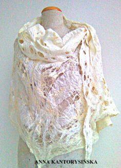 nuno felted shawl wrap ECRU handmade, free shipping, silk, wool, silk fibers, 100% natural, eco fashion by Kantorysinska