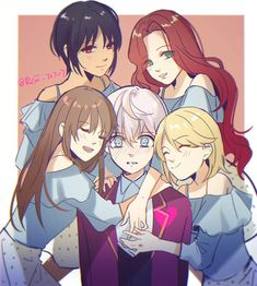MCs giving their love to Saeran Mystic Messenger Unknown, Mystic Messenger Fanart, Mystic Messenger Characters, Mystic Messenger Memes, Hello Darkness Smile Friend, Saeran Choi, Saeyoung Choi, Jumin Han, Anime Family