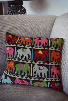 Needlepoint is one of my favourite crafts. I'm not talking about old fashioned cross-stitch (not that I have anything particularly against it) but an updated, more modern take on tapestry sew… Needlepoint Pillows, Needlepoint Designs, Needlepoint Kits, Cross Stitch Designs, Cross Stitch Patterns, Cross Stitching, Cross Stitch Embroidery, Hello Kitty Imagenes, Elephant Cushion