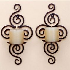 wedding decoration Iron pastoral style wrought iron candle holders Wall candlestick home decoration - Luxury Designer Fixures # Wrought Iron Candle Holders, Wall Candle Holders, Candle Wall Sconces, Candlestick Holders, Candle Tray, Candle Stand, Image Bougie, Chandelier Bougie, Wrought Iron Wall Decor