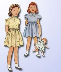 1940s Darlin Vintage McCall Toddlers Casual Dress Pattern Sz 6 | eBay