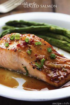 Salmon recipe with sweet chili garlic glaze on top.
