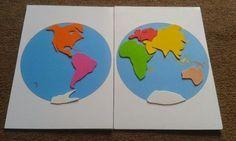 Puzzle Planisphère à la Montessori, réalisé en papier mousse. Documents téléchargeables ici: (Imprimer une copie b...