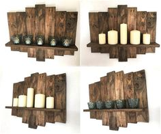 Deep Brown naturally rustic pallet wood could prove to be a treasure while you are crafting a pallet wood decorative project for your home. Especially this inspirational idea for utilizing rustic pallet woods for creating Candle shelves is simply outstanding!