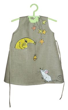 """Linen dress - painted dress - unit work - size by height 36""""/92 cm for 2-3 year - children. $50.00, via Etsy."""