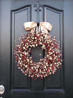 Navidad Navidad Berry coronas - fiesta jovial guirnalda - puerta coronas - Holiday Decor - Berry    *** Si usted elige la opción de Lg y Mini