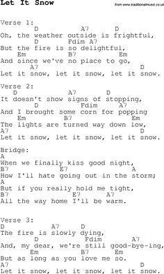 Christmas Songs and Carols, lyrics with chords for guitar banjo for Let It Snow