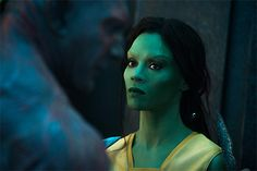 The Scoop on Zoë Saldana's Makeup in Guardians of the Galaxy: Daily Beauty Reporter :  The last time Zoë Saldana played an oddly colored space creature, her blue skin tone was entirely computer generated. Not this time around. To play Gamora in Guardians of the Galaxy, Saldana sat in the makeup chair for five...