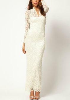 White Embroidery V-neck Long Sleeve Wrap Lace Dress I would wear this style dress if I were to get married^^