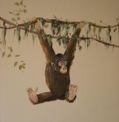 "Monkey - easy to include in ""my favorite"" Chimpanzee - Nursery Painting Monkey Room, Monkey Nursery, Room Wall Painting, Nursery Paintings, Safari Theme Nursery, Jungle Theme, Murals Street Art, Monkey Decorations, Playroom Mural"