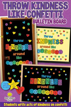 Throw Kindness Around Like Confetti - Kindness Bulletin Board Kindness Bulletin Board, Door Bulletin Boards, Back To School Bulletin Boards, Classroom Door, Classroom Themes, Back To School Hacks, School Tips, Kindness Projects, Educational Crafts