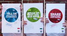 interactive poster from a bus company encouraging commuters to share their comments and stories about their ride