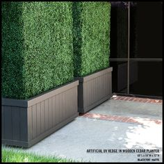 Tall artificial hedges in dark brown planters create a privacy wall. The planters are on casters, so they can be relocated easily.