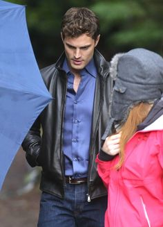 Jamie Dornan on the set of Fifty Shades Of Grey in Vancouver, Canada.