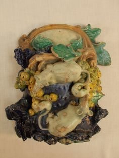 French Majolica Wall Pocket With Mice by TabletopTreasure on Etsy, $925.00