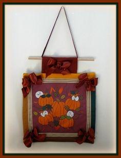 Burgundy Babies In the Pumpkin Patch Mini Quilt Decoration