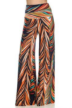 High Waist Fold Over Wide Leg Gaucho Palazzo Pants (Tropical Orange) – Niobe Clothing