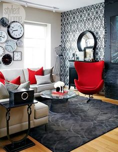 Black And White Rooms With Red Accents Brighten Up Loft In Toronto Living Room