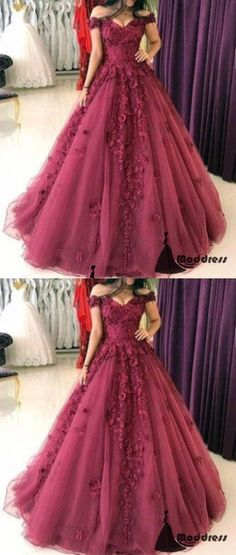 3D Floral Applique Long Prom Dress Off the Shoulder A-Line Evening Dresses,HS448 #dresses #promdresses #fashion #shopping #eveningdresses #prom
