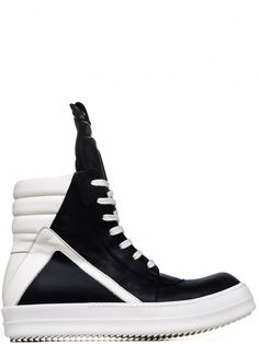 8ff19174307736 RICK OWENS GEOBASKETS IN BLACK CALF LEATHER Calf Leather