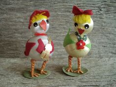Vintage Easter Chicks Pair Very Cute / retro by SweetPeaVignettes, $14.00