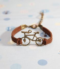 Bicycle bracelet-   Bronze Bicycle with brown Flocking leather bracelet, bridesmaid bracelet, friendship christmas gift