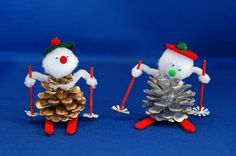 facts around us: How to Make a Pinecone Skier | pinecone craft ideas