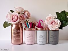 These adorable painted mason jars are ideal for dorm, home and wedding decor. You can use them as pencil and utensil holders, or for holding your favorite flowers. This listing is for 4 jars. The quart size metallic jar is 6 1/2 tall. The 3 pint jars are 4 1/2 tall. All jars come with metallic lids. You can choose either the pink/mint/gold combo or the pink/grey/copper combo at the drop down menu on the right. I pride myself in creating unique colors and styles of painted and distressed…